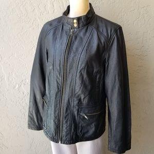 Victoria's Secret Black Leather Moto Jacket